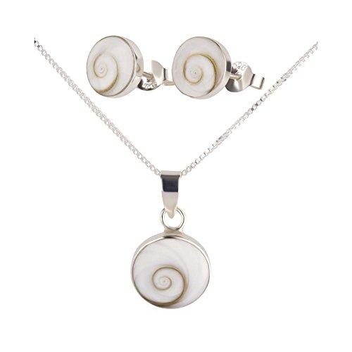 SL-Silver, set di collana e orecchini con ciondolo a forma di conchiglia, in argento Sterling 925, inclusa confezione regalo