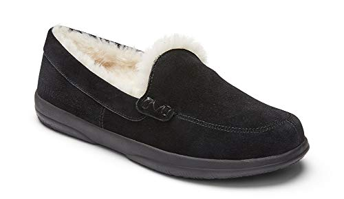 Vionic Women's Cedar Lynez Slip On Slipper- Comfortable Spa House Slippers that include Three-Zone Comfort with Orthotic Insole Arch Support, Soft House Shoes for Ladies Black Suede 8.5 Medium US