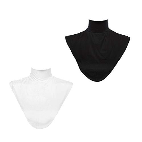 P Prettyia 2er Pack Frauen Kragen Abnehmbare Hälfte Shirt Bluse Hijab Schal Muslim Rollkragen Weiß + Schwarz
