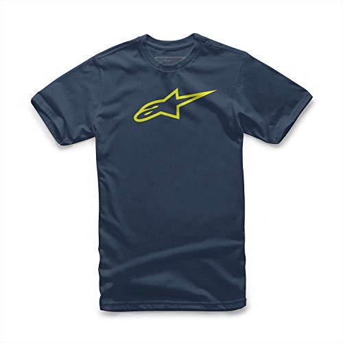 Alpinestar Ageless Classic tee Camiseta de Manga Logo de Corte Moderno, Hombre, Navy/hi Vis Yellow, S