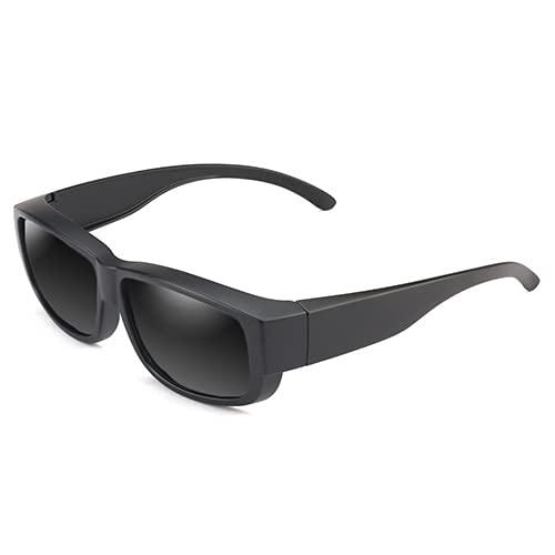 QSMIANA Gafas de Sol Nuevo Diseño Unisex Polarizado Fit sobre Gafas De Sol Hombres Gafas Insertar Cubierta Gafas De Sol-Gray