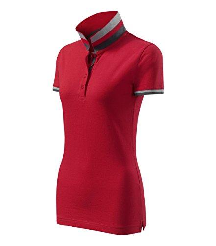 Adler Modisches Damen Poloshirt Collar Up - Super Premium Stoff & Shirt Schnitt | 100% Baumwolle | S - XXL (257-Rot-M)