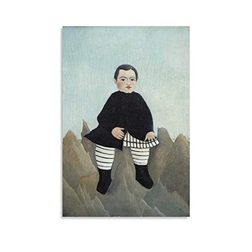 YANGNA Henri Rousseau Boy on The Rocks Gifts Canvas Painting Poster Wall Art Decorative Picture Prints Modern Decor Framed-unframed 12×18inch(30×45cm)