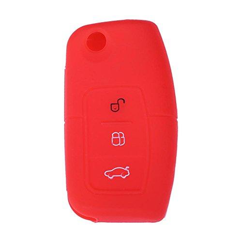 ahomi siliconen 3-knops afstandsbediening sleutelhanger hoesje cover houder voor Ford Focus