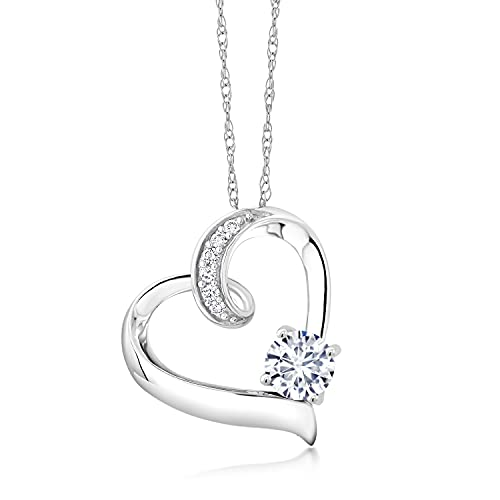 10K White Gold Forever Brilliant Created Moissanite by Charles & Colvard and White Lab Grown Diamond Heart Pendant Necklace For Women (0.50 Cttw, Round 5MM with 18 Inch Chain)