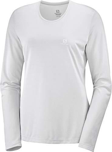 Salomon, T-Shirt de sport à Manches longues pour Femme, AGILE LS TEE W, Polyester, Gris clair (Light Grey Sag), Taille : S, LC1272400