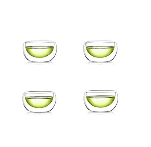 SYNGL Juego de tazas de cristal resistentes al calor de doble pared para café expreso de agua, taza de café hecha a mano, taza de cerveza, vaso de té, agua y leche, vaso de cristal, 4 piezas, 50 ml