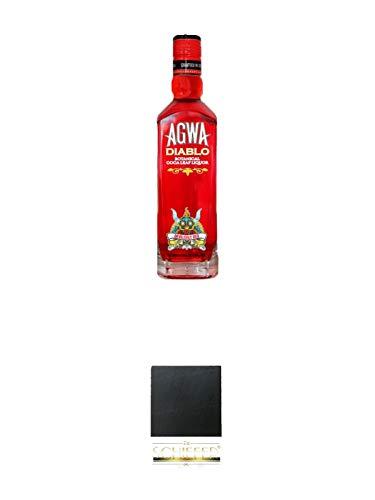 Agwa de Bolivia DIABLO 0,5 Liter + Schiefer Glasuntersetzer eckig ca. 9,5 cm Durchmesser