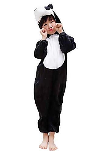 EVRYLON Costume Orso Panda per Bambino O Bambina Costumino in Morbido Peluche Si può Utilizzare Anche Come Pigiamone 2 - 3 Anni ( Taglia S ) Travestimento Cosplay Ottimo Idea per Natale O Compleanno
