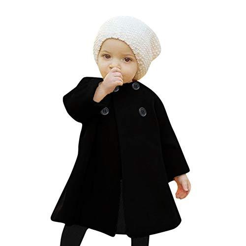 Yanhoo Mädchen Wintermantel Weicher Dufflecoat Solid Color Rundhals Langarm Cape Kinder Woolen Jacke Warme Sweatjacke Fleecejacke Outdoorjacket