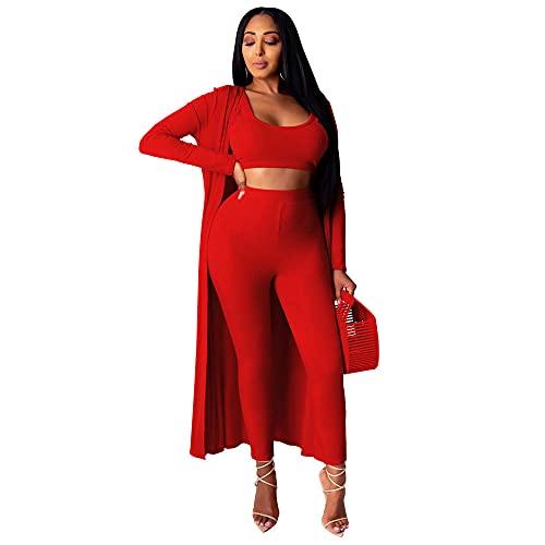 BLUSEZHUBA Vestidos De Fiesta Vestir Dress Mujer Niña Moda para Mujer, Deportes, Muebles para El Hogar, Bata, Chaqueta, Traje De Tres Piezas, Rojo G0309_M