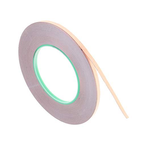 50m Kupferband Kupferfolienband Copper Foil Tape Abschirmband Kupferfolie Kupferband Selbstklebend Klebeband Schneckenband Schneckenschutz - 5 mm