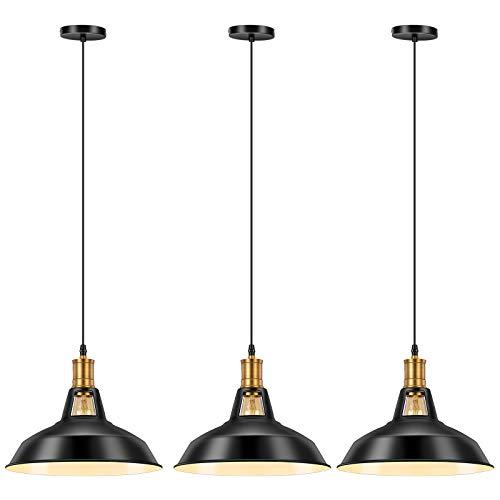 Pynsseu Vintage Style Industrial Pendant Light, Farmhouse Barn Hanging Pendant Lighting, Modern Pendant Lamp Fixture 3 Pack, Matte-Black Finish