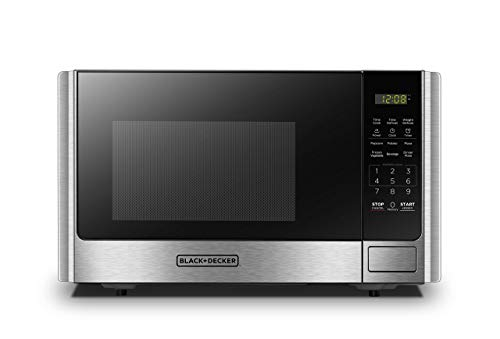 BLACK+DECKER Digital Microwave Oven with Turntable Push-Button Door,Child Safety Lock,900W,0.9 cu.ft,Stainless Steel (Renewed)