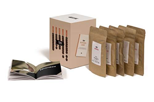 TRY Schokolade Geschenkset - Bekannt aus der Höhle der Löwen - Verkostung mit fünf Grand Cru Schokoladen und 60-seitigem Booklet. Das perfekte Geschenk für alle Schokoladen-Fans.