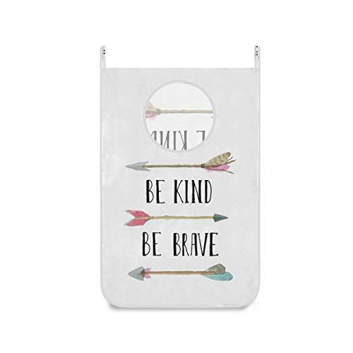 Be Kind Brave - Cesto para colgar, diseño de flecha para colgar, bolsa de ropa sucia, grande, plegable, con cremallera, para baño, colegio, armario, detrás de las puertas