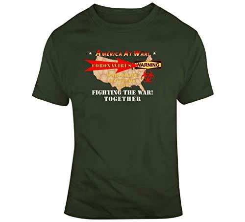 Small - Govt - America at War - CoronaVirus - T Shirt - Military Green