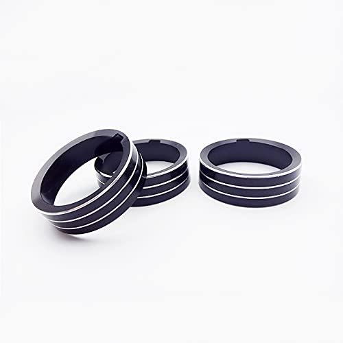 SUKLIER Aluminum Alloy Car Air Conditioner Adjust Knob Switch Decoration Ring Trim For Golf 7 Car Styling Accessory 3pcs/Set