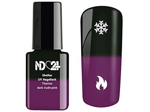 Shellac Uv/Led Nagellack - Thermo Effekt dark nude-pink - Studio Qualität - Made in Germany - 12ml