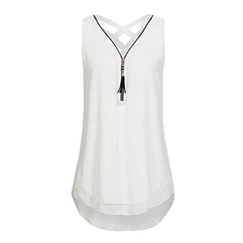 MERICAL Camisetas con Cuello en v Tops Mujeres Sin Mangas Sueltas Camiseta sin Mangas Cruzada Dobladillo Trasero con Cremallera(Blanco,Large)