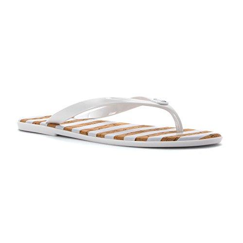 Michael Michael Kors Women's Jelly Jet Set Flip Flops, Optic White, 5 B(M) US