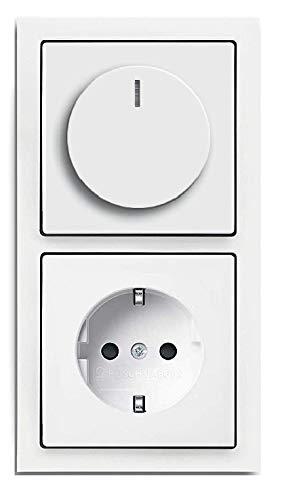 EBROM® complete set LED dimmer/draaiknop + Busch Jäger future Lineair studiowit, frame dimmerschijf stopcontact (1722-184K 6540-84-102 20EUC-84) inbouw fase LED 5-150 Watt en meer