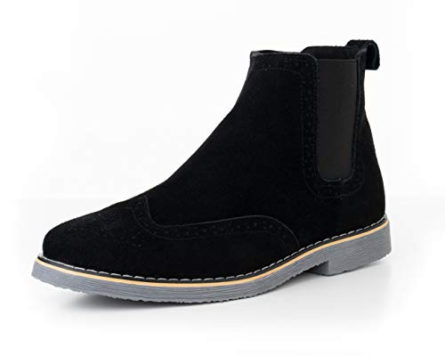 alpine swiss Men's Chelsea Boots Genuine Suede Dress Ankle Boots Wingtip Shoes Black 9 M US