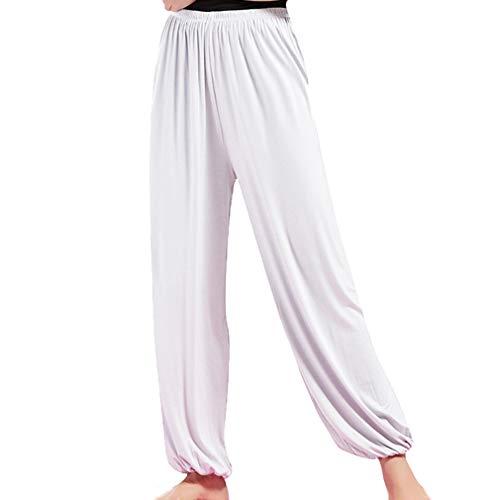 Nanxson Pantaloni Larghi Donna Elastico Yoga Pantaloni Sportivi Jogging Pantaloni YDKM0007 (M, Bianco)