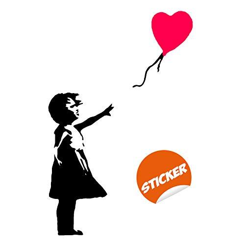 Decords Banksy Meisjes met hart, ballon, vinylballon, hete lucht, babykleuterschool, kunststicker, er is altijd hoop voor kinderen, thuis, laptop, ramen 69 cm x 100 cm