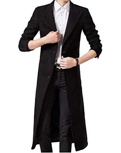 JHIJSC コート メンズ ロング チェスターコート 膝下 ジャケット 秋冬 無地 長袖 ビジネス 大きいサイズ (ブラック, XL)
