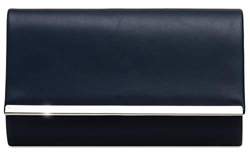 Caspar TA415 elegante Damen Envelope Clutch Tasche Abendtasche, Farbe:dunkelblau, Größe:One Size