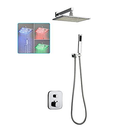 Sistema de Ducha empotrada LED baños termostáticos Kit de Ducha Fija Mezclador de baño de latón Juego de Ducha 8 Pulgadas Cabezal de Ducha Fijo Cromado