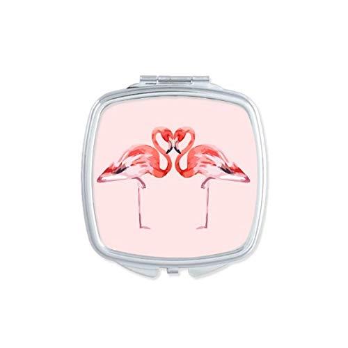 DIYthinker Flamingo Couple Amoureux Miroir carré Maquillage Compact Portable Mignon Cadeau Miroirs de Poche à la Main Multicolore