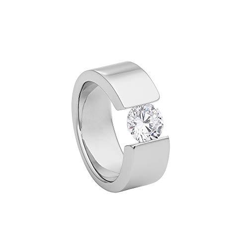 Heideman Ring Damen Turris aus Edelstahl silber farbend poliert Damenring für Frauen mit Stein Zirkonia weiss im Brillant Schliff 7mm