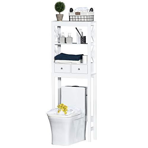 kleankin Estantería para Baño sobre Inodoro WC Lavadora Mueble con 3 Estantes y 2 Cajones con Dispositivo Antivuelco 60x20x165 cm Blanco