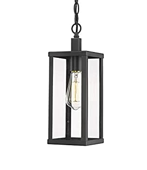 Odeums Outdoor Pendant Lantern Exterior Pendant Hanging Lights Pendant Lighting Fixture in Black Finish with Clear Glass