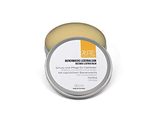 PURE Leather Studio Crema para Piel y Cuero 130ml a Base de Cera de Abeja I Bálsamo reparador incoloro I Impregna y Protege - Made in Germany