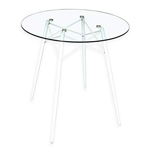 B&D home - Esstisch rund D80x76 cm | Runder Glastisch | Metallgestell weiß