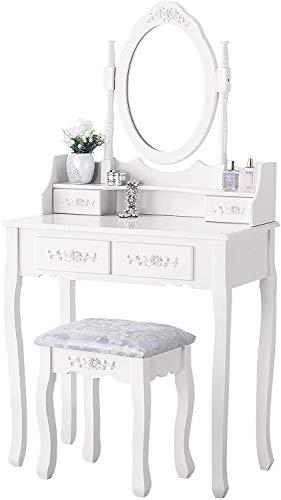 mecor Schminktisch Kosmetiktisch mit Hocker, Spiegel und 4 Schubladen für Damen & Teenager & Mädchen, Frisiertisch aus MDF Holz Weiß