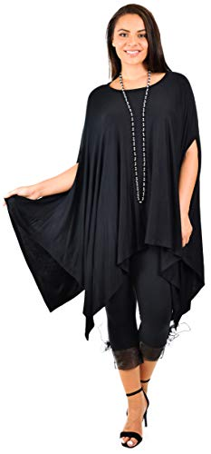 Dare2bStylish Women Versatile Loose Fit Dolman Poncho Tunic Dress Top Cover Up Black