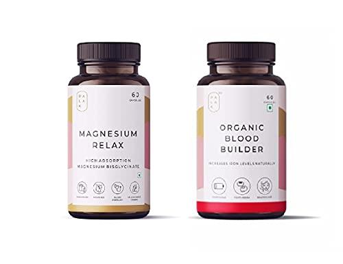 Lavito Palak Notes: Magnesium Relax Supplement 60 Capsules + Organic Blood Builder 60 Capsules