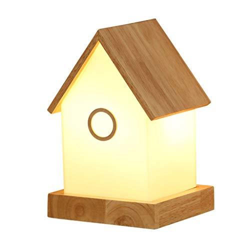 HXMSXROMIDA Lámpara de mesa LED de protección para los ojos para niños, de madera maciza, sala de estar, dormitorio, estudio, lámpara de escritorio, luces decorativas, forma de casa
