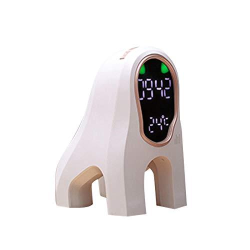 FPRW Digitale wekker met muziek, creatief nachtlampje, tafellamp, intelligente klok met hondenhoofd, eenvoudig cartoon-patroon, met USB-lading Wit
