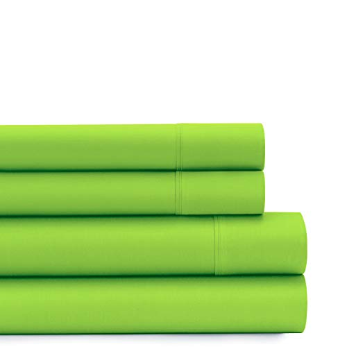 American Home Collection Deluxe 4 Piece Bed Sheet Sets of Brushed Microfiber Wrinkle Resistant Silky Soft Touch (Queen, Lime Green)