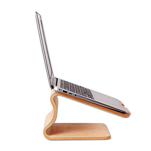 JCNFA planken Notebook Pad Hoge Beugel Houten Gebogen Ontwerp Houten Beugel 13 15-inch Computer Office Support Shelf, 2 Kleuren 10.74 * 9.33 * 5.51in Berk