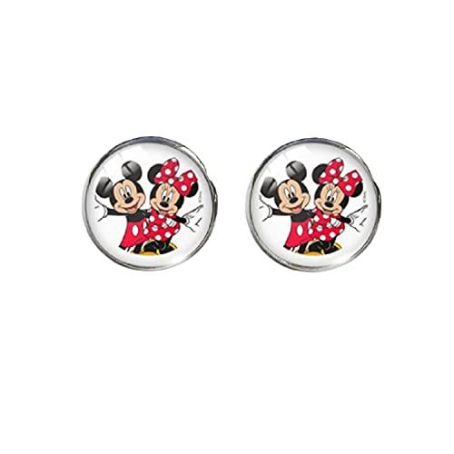 Pendientes redondos de cristal con diseño de Mickey Mouse Minnie para parejas, para regalar a niñas