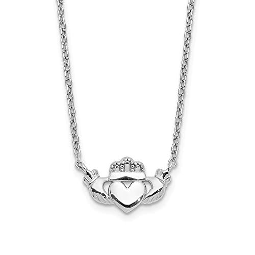 14k White Gold Irish Claddagh Celtic Knot Chain Necklace Pendant Charm Claddaugh Fine Jewelry For Women Gifts For Her