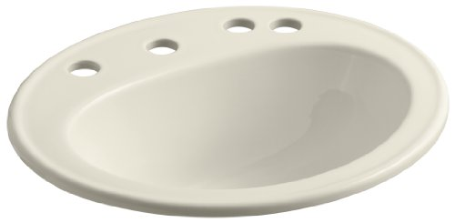 """KOHLER K-2196-8K-47 Pennington Self-Rimming Bathroom Sink with 8"""" Centers, Right-Hand Soap/Lotion Dispenser Hole Drilling and Sealed Overflow, Almond"""