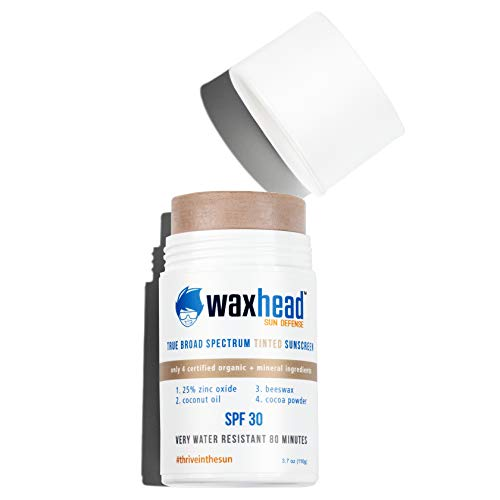 Waxhead Tinted Facial Sunscreen Stick - Uncommonly Safe Zinc Oxide for Everyone + Planet: Kid Safe, Reef Safe, Non-Toxic Clean Label Mineral Formula, SPF 30, 3.7oz (Tinted)