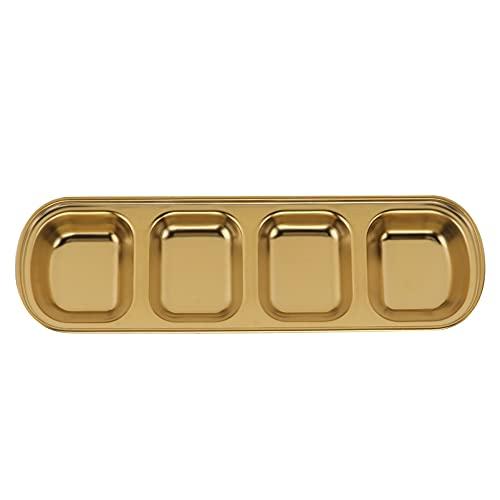 Angoily de Salsa de Inmersión de Acero Inoxidable Platos de Condimento Sub- Rejilla Platos de Condimento Mini de Aperitivos para Cocina Casera Barbacoa Restaurante Oro